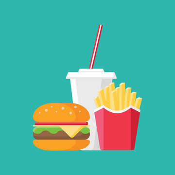 Set of French fries, hamburger and soda on isolated background. Fast food products in flat style on blue background. Vector illustration.
