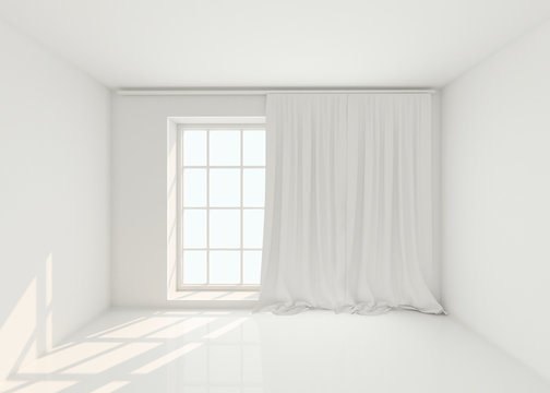 Empty white room with window and curtains. Mockup, template. 3d illustration;