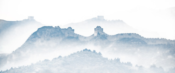 Tuinposter Chinese Muur Great Wall of China silhouette