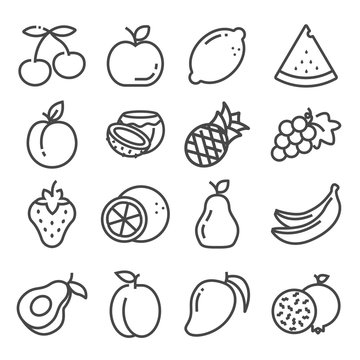 Vector set of outline fruit icons isolated