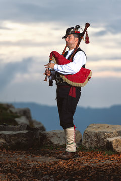 Bergamo Bagpipe. Player with traditional costume