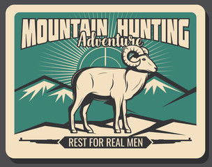Mountain goat hunting adventure, vector poster