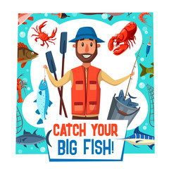Fishing sport poster with fisherman catch