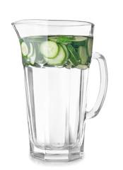 Jug of fresh cucumber water on white background
