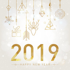 Happy New Year 2019 with geometric elements