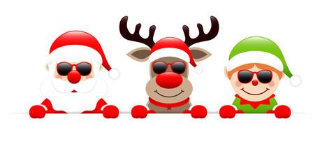 Santa, Rudolph & Elf Sunglasses Banner