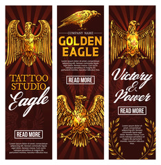 Golden eagle tattoo studio, vector banners