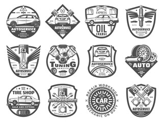Car service, tire and engine repair icons