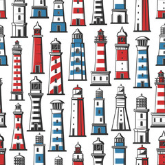 Lighthouse and beacon nautical seamless pattern