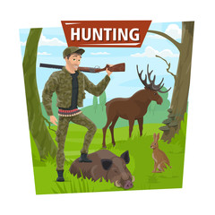 Hunter in forest with wild animals trophy