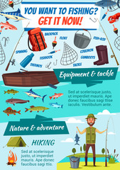 Fishing tackles and fisherman, fish catch vector
