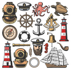 Marine nautical and seafarer vector icons