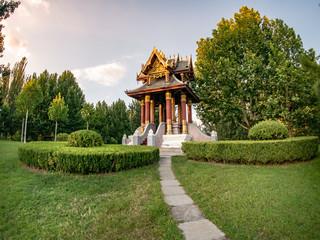 golden temple in Changyang Park in Beijing