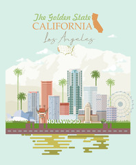Los Angeles vector city template. California poster in colorful flat style.