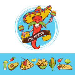 Red chili in a sombrero dancing with maracas. Mexican food. A set of popular Mexican dishes, fast food. Vector illustration.