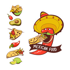 Red chili in a sombrero eating burritos. Mexican food. A set of popular Mexican dishes, fast food. Vector illustration.