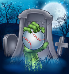 A sports Halloween graveyard illustration with a zombie hand breaking out of a grave holding a baseball ball.