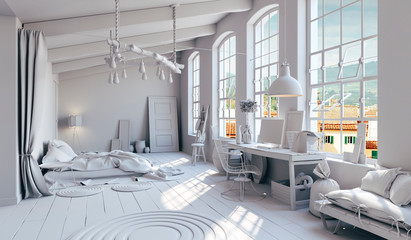 3d rendering of beautiful clean interior, industrial design