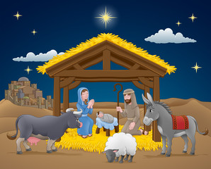 A Christmas nativity scene cartoon, with baby Jesus, Mary and Joseph in the manger with donkey and other animals. The City of Bethlehem and star above. Christian religious illustration.
