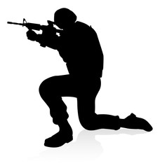 Military army soldier armed forces man detailed silhouette