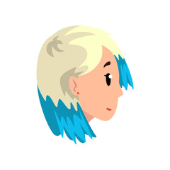 Head of girl with dyed hair, profile of young woman with fashion hairstyle vector Illustration on a white background