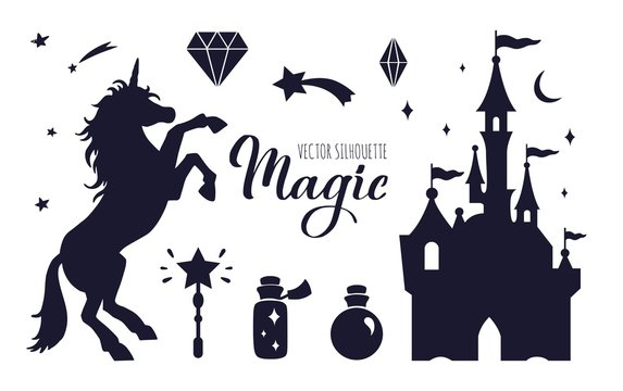 Fairy tale vector silhouette collection with Unicorn and Castle