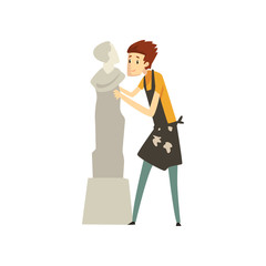 Male sculptor chiselling a marble statue, talented carver character, creative artistic hobby or profession vector Illustration on a white background