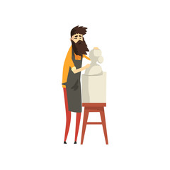 Male bearded sculptor working on his sculpture, talented carver character, creative artistic hobby or profession vector Illustration on a white background