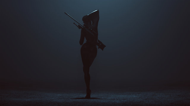 Black Latex Futuristic Abstract Assassin with Sniper Rifle 3d illustration 3d render