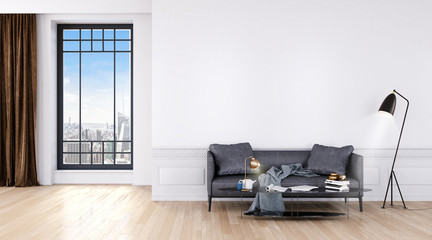 Modern bright room with big windows and sofa 3d illustration