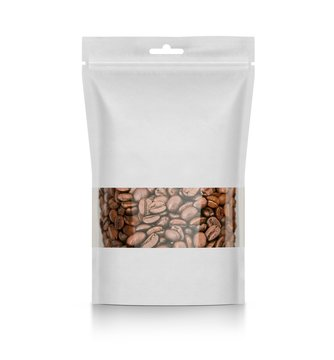 Blank plastic vacuum sealed pouch, coffee bag on white background 3d illustration