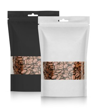 Two blank plastic vacuum sealed pouch, coffee bag on white background 3d illustration