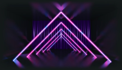 3D Rendering. Geometric figure in neon light against a dark tunnel. Laser glow.