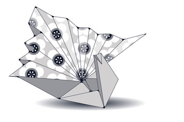 crane origami illustration with cherry flowers pattern in silver shades