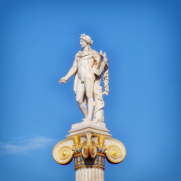 statue of Apollo the ancient god of music and poetry, Athens Greece
