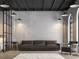 Wall Mural - Loft living room and bedroom 3d render,There are white brick wall,polished concrete floor.Furnished with dark brown leather sofa ,There are arch shape windows sunlight shining into the room.