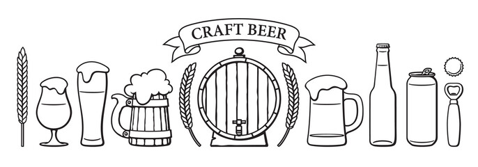 Beer objects set. Beer glasses of different shape, mugs, old wooden barrel, bottle, can, opener, cap, barley, wheat, ribbon banner. Black and white isolated vector illustration.