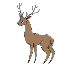 The vector deer on a white background. New year - Christmas illustration. Nice element.
