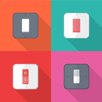 Set of Electric light switches icons with long shadow isolated on colorful background. Simple  light switches in flat style. Vector sign symbol illustration.