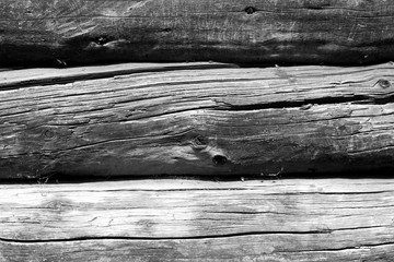 Old wooden wall in black and white.