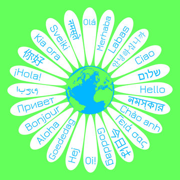 World Hello Day. The concept of the campaign for peace. Daisy flower The middle is the planet Earth. On the petals - the word Hello in various languages of the world