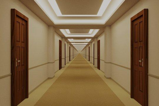 Endless hotel corridor with doors
