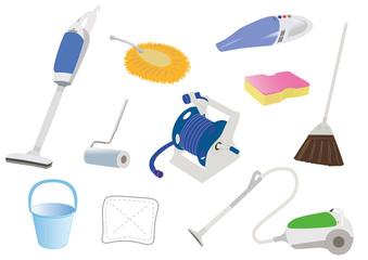 掃除用具のイラストセット
