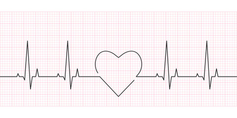 Heartbeat line. Heart rate, cardiogram and EKG concept. Vector illustration.