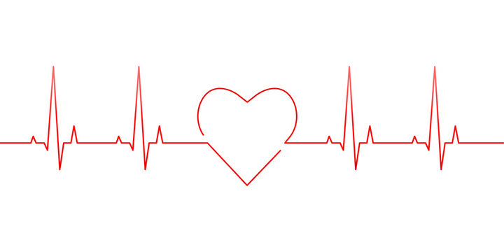 Red heartbeat and heart rate line concept isolated on white background. Vector illustration.