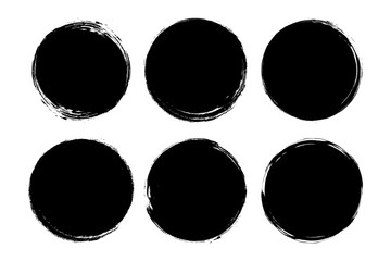 Set of circle, grunge, black paint, ink, dirty brush strokes. Creative elements for your design. Vector illustration. Fototapete