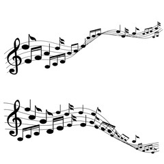 Music Notes with G-clef on Line Wave Background