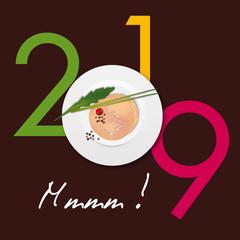 Carte de vœux 2019 gastronomique avec une tranche de foie-gras posée sur une assiette