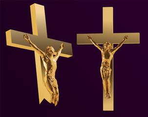 Golden Jesus on the Cross. Vector 3D Rendering