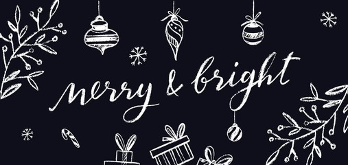 Merry and Bright vector Postcard. Chalkboard Lettering